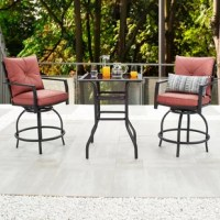 This 3-Piece High Seating Bistro Set includes 2 swivel stools with cushions and 1 bistro table with a storage compartment. All-weather polyester cushion covers filled in with foam enable your leisure experience outdoor. Featuring black glass tabletop, the whole set fits any of your current outdoor layout or even indoor settings. All contents are packed in 2 boxes. Assembly required.