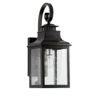 This elegant, durable exterior light fixture is sure to improve the look of your home or business. The simple lines of its construction allow it to work well with almost any style. Its Oil Rubbed Bronze finish and clear seedy glass give it a beautiful, antique appearance. Give your porch, patio, or garden the finishing touch it needs with this gorgeous light fixture.