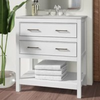 Make the most of your space with this traditional style bathroom vanity. Its traditional style is able to complement many aesthetics, Calacatta quartz countertop, and the contemporary slender handlebar that sits on the upper drawer and the lower u-shaped drawer, allowing you to store an assortment of bathroom essentials. The lower shelf makes it the perfect space to hold new towels for your guests. This compact vanity ensures both form and function in your bathroom or powder room for you and...