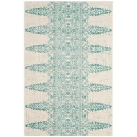 Set a boho-chic foundation for your stylish space with this teal and ivory area rug, showcasing an Eastern medallion motif with botanical accents. Made in Turkey, this area rug is power-loomed from a stain- and a fade-resistant blend of polypropylene, cotton, polyester, and jute in a low 0.43