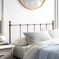 Behind every sweet dream is a good headboard, and if you're still looking for the right one, this piece is here to help. Crafted from steel, this headboard features a classic slatted design with ball casting details and bun feet. Awash in a black finish, this headboard can blend with a variety of color schemes, while included finials offer a touch of tradition to your ensemble. After assembly, this headboard mounts directly to any compatible bed frame (not included).  Hand-curated by Kelly...