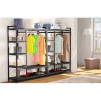 Store and display your clothes with this 6-tier freestanding metal shelves. Organize coats, shirts, pants and more on the hanger rack. Its compact design makes it ideal for any place of your home without taking too much space with lots of storage room. Such as laundry room, living rooms, bedroom, walk-in closet and more.