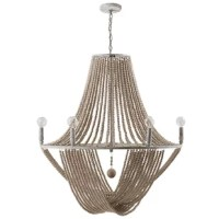 Bring ashore nautical style with this 8-light round chandelier featuring wood, metal, and rope. A rustic wood frame and rope accents support the farmhouse cum coastal aesthetic. Metallic elements finished in a signature Mystic Sand feature warm, brushed highlights showing through the rich, dark finish. This collection works well as a dining room chandelier or a living room chandelier.