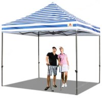 The canopy can cover 4 tables in your garden or 3 beach chairs on the beach or cover 10 people at the same time for your commercial events. Sliver coated PU, UV blocker, UPF 50+,100% waterproof heavy-duty fabric is suitable for both sunny and rainy days. Super easy to set up with only 2 people. Roller bag for easy portability and light transportation. Heavy-duty wheels glide smoothly. Bonus 4 Canopy Sand Bags, 4 Stakes & ropes for stable and sturdy use. Multiple-use occasions: Perfect tent for...