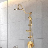 This complete shower system replaces your old showerhead with an elegant rain showerhead and multi-function handheld including an adjustable slide bar and wire basket soap dish.