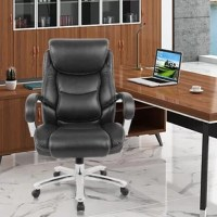 High-backed executive design with full-body support. Lumbar design and headrest, minimize pressure points for relief from discomfort caused by prolonged sitting  Adjustable pneumatic height mechanism and tilt lock function to customize the most comfortable position. And Curved cushioned armrests make your arm more comfortable  5-point base with hooded caster wheels and 360-degree swivel, giving you unrestricted freedom of movement and peace of mind.  Big and tall ergonomic office chair made of...