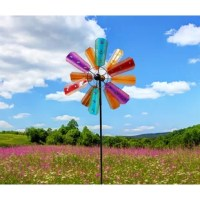 Add a touch of ambiance to your patio, lawn, or garden with rotator. This durable, colorful spinner is made of iron to withstand the harshest wind conditions and last throughout all seasons. The multi-colored blades are adorned with plastic gems and are a stylish addition to your outdoor space. The colors blend together as the wind swirls the spinners to create a beautiful color collage. The spinner is the perfect portable decor for lining your driveway, walkways or planting beds to be easily...