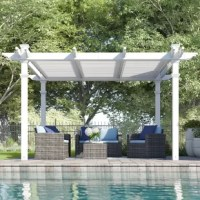 Create an outdoor room for relaxing and entertaining with this vinyl pergola. Measuring 12' square, it features a traditional design with a three-panel louver system up top to block out as little or as much sun as you choose. As for maintenance? Vinyl is weather-resistant, and a simple rinse with a garden hose is all this pergola needs to look great year after year. Two people are required for assembly.