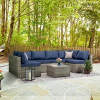 This set is built for comfort with 4-inch thick seat cushions and designed with upgraded contrast trim on each cushion. This beautiful set seats up to 6 people and features strong, durable steel frames covered in weatherproof resin wicker in rich, grey color. The comfortable cushions with contrast trim bring out the beauty of the wicker but also match any outdoor décor. The coffee table has a maintenance-free faux wood tabletop, perfect for entertaining. This set can be configured in many...