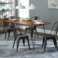 Dine in for a home-cooked meal with our five-piece dining set, blending mid century modern and urban style. This dining set includes our square hairpin table and four café chairs to provide your family with the perfect amount of room to enjoy your food together. The table top has a rich, walnut finish that sits atop hairpin styled metal legs for uniqueness and dependable strength. The four powder-coated metal chairs with a modern antiqued appearance contrast nicely with the contemporary styled...
