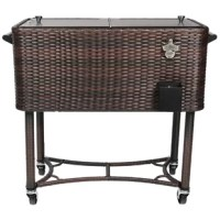 The 80-Qt. Wicker Patio Cooler Cart will make an elegant addition to your outdoor setting. This cooler cart will come in handy especially when you are entertaining. The Powder Coated Steel and Cane Cover construction finish not only gives it an attractive look but also ensures that it retains its look for a long time. The insulated basin keeps drinks cool for up to 36 hours. The versatile design includes four heavy-duty casters for easy mobility, Two locking for stability once in the desired...