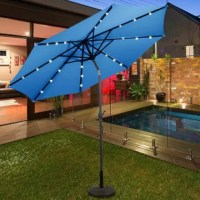 This is a led solar umbrella, sun tent, rain shelter, and more all in one, the parasol gives you instant portable protection from the elements regardless of your activity. It blocks the sun's rays throughout the day and lights up the night with its pre-installed solar-powered LEDs.