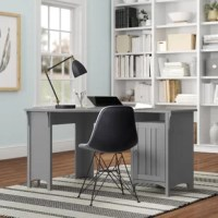 Small spaces need great desks, too. If you have a small home office, this reversible L-Shape desk is the perfect size for your workspace or even a guest room. Measuring 30'' H x 55'' W, this desk, crafted from engineered wood, features a generous-sized surface to spread out papers and a laptop. A cubby space allows you to keep all your writing utensils and papers in one place. And the attached storage cabinet can be placed on either side of the room for left- and right-handed configuration....