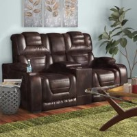 Contemporary yet casual home theater style leather power reclining loveseat with power headrests. Upholstered in top grain, Italian leather on all fronts with design-oriented channel stitching. The dual power reclining loveseat also features a center console with cupholders. Storage and cup holders in the arms and USB ports also included.