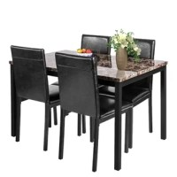 This 5-piece dining table set features beautiful details and creates a sleek feel with a versatility that enhances any open dining area.It features a faux marble top metal legs table and four matching PU upholstered chairs, seats four people comfortably and will add an upscale look to any dining room or kitchen.An marble tabletop with a steel frame will keep the set intact for years to come.Whether in the kitchen or dining room, this versatile set will be perfect for your living space.Come on...