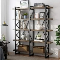 Impressively strong and sturdy with vintage and industrial style. This solid wood bookcase is unparalleled in beauty, and it has a beautiful grain that contributes to a great-looking bookshelf.