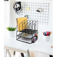 Keep your office desktop neat and organized with this mesh file and documents organizer. Conveniently stores papers magazines and documents and 2 shelves. Features on top easy to assemble standing file sorter dividers with 5 slots for sorting and storing file folders and documents. Includes an office supplies holder on the side for pens, pencils, post-it notes, etc.
