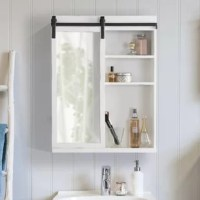 Farmhouse home decor has never been so practical thanks to the space-saving Wexton cabinet from Gracie Oaks. This beautiful cabinet is made of quality wooden material with a sliding mirrored door for an extra bit of function. Within this charming, one-door cabinet, there are three shelves of varying sizes. The depth is excellent for the display of small succulents, toiletries, lotions, and more. The functional reflective mirror surface makes the Wexton an elegant feature as a medicine cabinet...