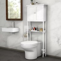 This toilet rack has two shelves behind the double door and one open shelf for you to store bath essentials and sundries, which makes your bathroom cleaner and tidier.Made of environmental friendly P2 MDF covered with NC paint, this rack is durable for long time use and moisture-proof. And rack with painting cover won't produce a pungent order and is also easy to clean.