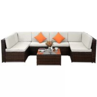 Gather friends and family around this beautiful 7-piece patio rattan furniture set with beige cushions that are commodious and stylish. This patio rattan furniture set has an ornate exterior inspired by antiques. This patio furniture can also accommodate 7-8 people in your patio or garden. The set has a sturdy steel frame with all-weather PE rattan, while the table is a beautifully designed piece that will work with a variety of courtyards or gardens. The chairs and sofa seats are fitted with...