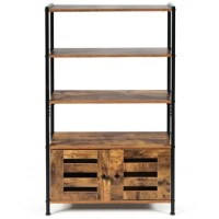 This 4-tier rack made of thick density board and durable steel, the frame of rack is durable and stable. On the open shelf, you can hold and display items for easy access.ompact design allows this cabinet to fit into tight spaces.