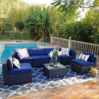 Perfect for a relaxing day outside with friends, this Connally Outdoor 7 Piece Rattan Sectional Seating Group with Cushions that you'll want to relax in. Stylish and perfect for any outdoor space including yards, patios, gardens, porches or indoors if you want.