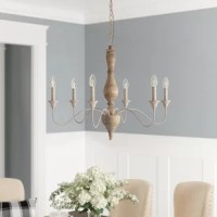 Tacoma 6 - Light Candle Style Classic / Traditional Chandelier with Wood Accents