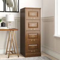 This 4-Drawer File Cabinet features a classic look and attractive design that makes this traditional style the optimum choice for any home decor. This file cabinet is constructed from manufactured wood, which is strong and durable to sustain for a long time. This file cabinet features two large drawers that have a vertical design that stores your files and documents. The file cabinet has pedestal bases for stability and a classy look. It has locking system that keeps you important files safe in...
