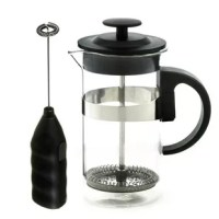 Looking for a French press and milk frother set to make the tastiest coffee without spending a fortune? The Cafe Au Lait set has a simple and easy to use French press that is sure to please. It is well designed, functional, durable, and will make the best coffee for you.  Its press is made of stainless steel and its beaker made of heatproof Borosilicate glass. The stainless steel filter of the French Press is easy to clean. Simply rinse in a sink, or put in the dishwasher. It can also be opened...
