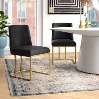 When it comes to putting together a dining ensemble's look, your tables go a long way toward accenting your space's style while also lending you the perfect perch during a meal. Take these chairs, for example: crafted with metal sled bases, each seat is capped with foam filling and velvet upholstery for a glam take on modern style. A full-back gives each chair the perfect spot for leaning back, helping create an inviting seat during long dinnertime chats. Arrives as a set of two.