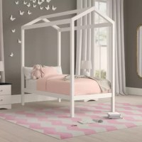A fun and versatile place for your little one to sleep on, this understated twin platform bed upgrades your child's room in style. Crafted from solid pine wood, this bed comes with removable legs that allow it to sit on the floor to make a safe and fun toddler bed. For older kids, you can add the legs to make space for a trundle bed for sleepovers or storage drawers. Plus, an open canopy above looks great with a shiny strand of lights.