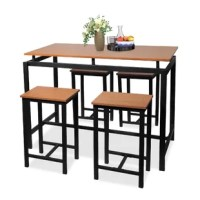 Whether enjoying delicious dinner with friends and family or a peaceful afternoon with a good book and a glass of lemonade, this five-piece dining table set is a must-have for your home. Crafted from a steel frame, all featuring natural wood texture sealed in a protective PVC coating. It comes complete with one rectangular table and four matching stools, that can fit 4 people comfortably. Highly practical in build, this dining set is expertly manufactured so you may comfortably tuck the...
