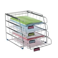 Very sturdy chromed wire structure. Front load entry for documents up to 9.45x12.6 inches. Sliding drawers provide easy access. 3 Plastic removable label holders for document identification. Large capacity.