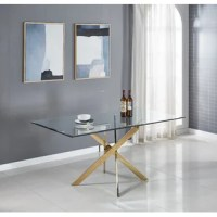 Refusing to choose between style and function, this rectangular table offers a place to share a meal with your family, with an air of medieval modernity. It is made of stainless steel and has four bent legs at the bottom, bent and overlapping on a smooth metal surface. Above, the top of the rectangle is made of clear tempered glass and the edges are tilted to provide an easy-to-clean surface for dining. This table has enough space to accommodate 6 people at the same time.
