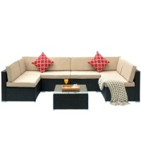 This 7 piece rattan sofa seating group with cushions is made of strong steel frame with all-weather PE rattan wicker. Excellent lounging choice for patio, porch, poolside, or garden area. Easy assembly, no maintenance required, difficult to crack, split, rot, chip, fade or deteriorate.