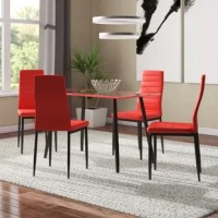 Bring contemporary style into your kitchen or dining room with this 5 Piece Dining Table Set, metal and glass dining table. Floors are protected with floor glides in case of accidental movement or rearrangement. So gather family and friends around this stylish rectangular dining table and enjoy great meals.