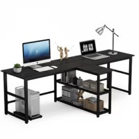 This is a super practical computer desk that can accommodate two people working together without disturbing each other. There is a 3-tiers shelf in the middle. You can work with your family and friends. The middle rack can be used to store items. The large work desktop gives you the best experience. The modern style design is very simple and can be perfectly integrated into any decoration style space. Whether it is placed at home or in the office, it is a good choice.