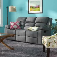 Provide ultimate comfort for your family with a beautiful touch of contemporary charm to your home. This lovely Aum Living Room Reclining Sofa offers the perfect balance of relaxation and comfort. This elegant Aum Living Room Reclining Sofa features a contemporary shape with a microfiber fabric upholstery that is sure to leave a lasting impression on your home. This Aum Living Room Reclining Sofa features a cenro recliner mechanism with a manual crank and a steel base that ensure this sofa will...