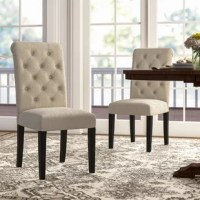 Simply elegant, this solid wood tufted dining chair has a style fit for royalty. This dining chair is upholstered in your choice of colorperfectly accented with button tufting. The wood frames are armless design.