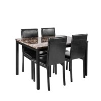 This dining set with marble table top is great for anyone looking to add a touch of color to a contemporary styled kitchen.Sophisticated rectangular table with artificial marble table top and sleek black metal table base to create shine and bid farewell to mediocre restaurants.The dining chair cushion is wrapped in soft and durable leather, which is comfortable, breathable, and durable.Perfect for serving up family brunches on sunday mornings or gathering friends for intimate dinner parties...