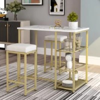 A three-piece modern bar set with artificial marble countertops and bar stools, a modern-designed brass bar three-piece set, including a rectangular table and two matching square stools. This elegant bar offers a stylish and stylish silhouette that highlights the beautiful contrast between the artificial marble countertop and the metal base.
