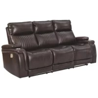 If you agree it's time to put the high design in recline, prepare to be impressed with the power reclining sofa in chocolate brown. Equipped with everything from a power-adjustable headrest and USB charging ports, to stainless steel cup holders and chic padded armrests, it's the clear winner for contemporary style and comfort. Ultra-cool vertical channel stitching, jumbo contrast stitching, and a pad-on-pad arm design put this power reclining sofa in a class by itself.