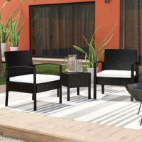This set of outdoor furniture is made of high-quality rattan and strong steel, which is durable and has a long service life. The thick soft cushions are comfortable and breathable, which can relieve your fatigue of the whole day. Removable seat covers and tempered glass table tops are easy to clean. Modern and stylish lines make this furniture set a perfect embellishment for backyard, patio, balcony or any other outdoor space! If you are looking for such a rattan bistro set, this will be your...
