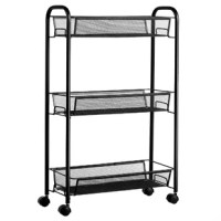 This 3 tier metal rolling cart has 3 large baskets with a high fence that provides enough storage space while ensuring that items are not easy to drop. And metal mesh bottom not only easy to water drain but also facilitates cleaning. Open storage design makes it easier to get items. simple style and large storage space perfect for home and office use.