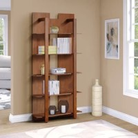 When your decor needs a little pick-me-up, this Axzel bookcase is just what you're looking for. It offers a unique structure with prominent front framing and a cut-out back. Perfect for a contemporary living area or bedroom, it features five open shelves that create plenty of options for both storage and display of personal knickknacks and decor. A warm coffee finish ensures an inviting presence in your stylish modern or industrial decor.