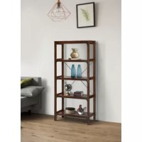 Add plentiful storage space to a farmhouse modern living area or home office with the Logan etagere bookcase, featuring tall and open shelving for a light, airy touch. The standing wooden bookcase boasts industrial style with black copper finish hardware accents including a metal X-brace and expose brackets. Four open shelves are perfect for everything from showing off a collection of decor and books or storing photo albums and family treasures. For safety, a tip-restraint kit is included with...