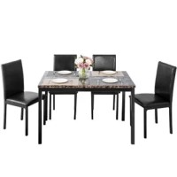 This dining table set allows you to have a happy gathering with your friends, or simply enjoy a light meal in the morning, which is very suitable for casual occasions. The kit is made of artificial wood with clean lines and neutral solid finishes, which is ideal for industrial and modern environments.