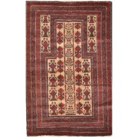 This rug is one of a kind piece of global art that will improve your living space. Afghan Balouchi rugs are made in the villages in the province of Herat, Afghanistan. Due to unrest in the past decades in Afghanistan, most of the weavers in the villages have moved to the cities and are no longer weaving rugs. Almost all Balouchi carpets on the market today in the united states are from before the last three decades. They are woven in a very primitive way on flat wooden looms that lay on the...