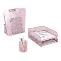 Mesh desk organizer has 4 desk accessories which are letter/file tray x 2, magazine rack/upright document holder x 1, pen holder x 1
