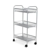 A multi-tier rolling cart designed to take your storage solutions to the next level. Elevate your storage solutions with this uniquely styled rolling supply cart. Designed to hold substantial supplies without allowing them to spill or fall over the sides, the deep mesh baskets on each level provide ample storage space while allowing you to still view the contents on each level clearly. Say goodbye to tacky plastic storage units, and replace them with a rolling cart that's built to last. The...